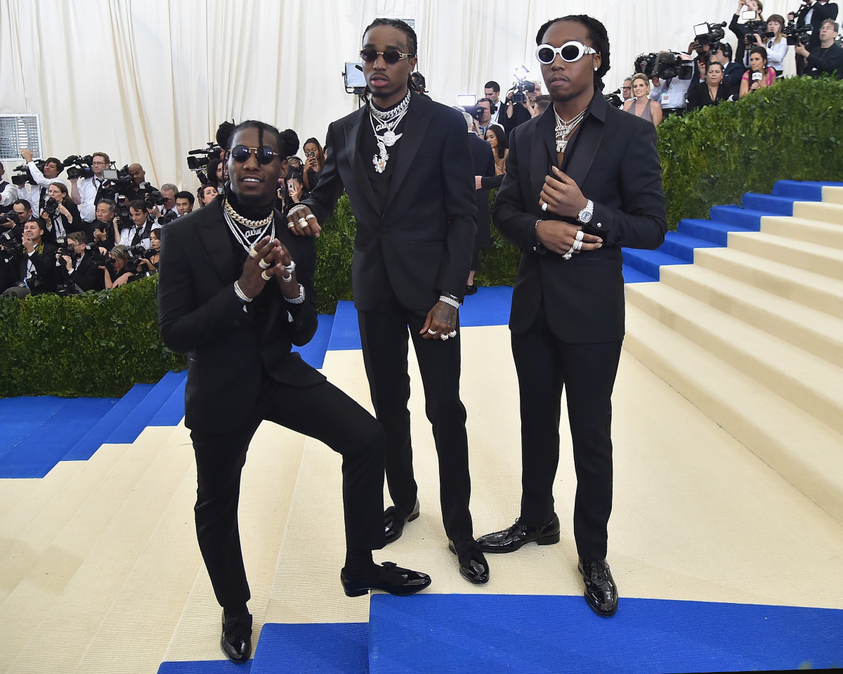 Takeoff, Quavo and Offset of Migos at the 2017 Met Gala. Photo: Theo Wargo/Getty Images