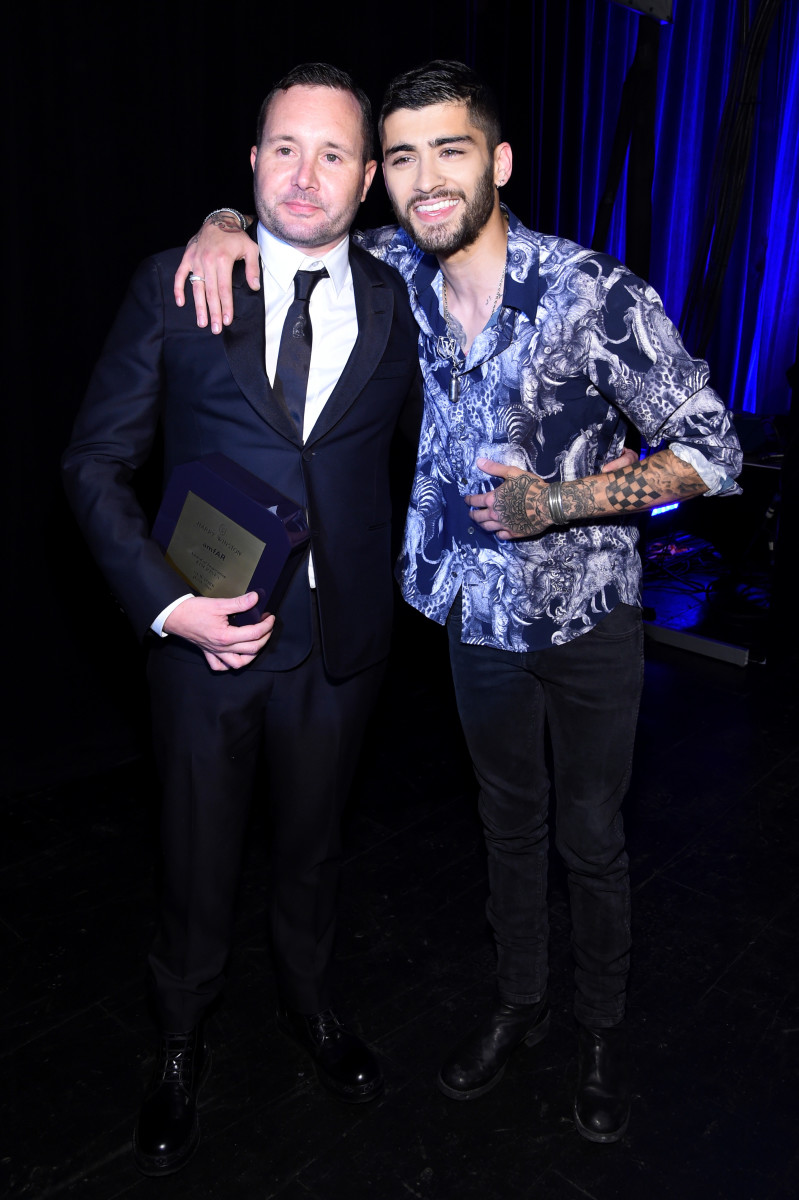 Kim Jones with Zayn Malik at the 2016 amfAR Inspiration Gala in New York City. Photo: Jamie McCarthy/Getty Images