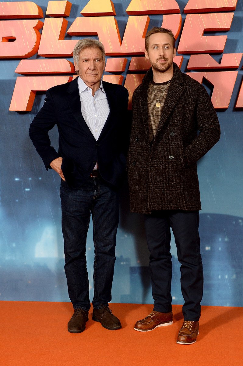 "Harrison Ford and Ryan Gosling at the London photo call for ""Blade Runner 2049."" Photo: Dave J Hogan/Getty Images"