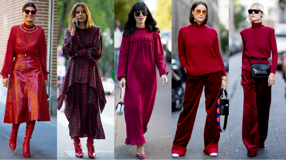 Showgoers Dressed In Head To Toe Red On Day 2 Of Milan Fashion Week Fashionista
