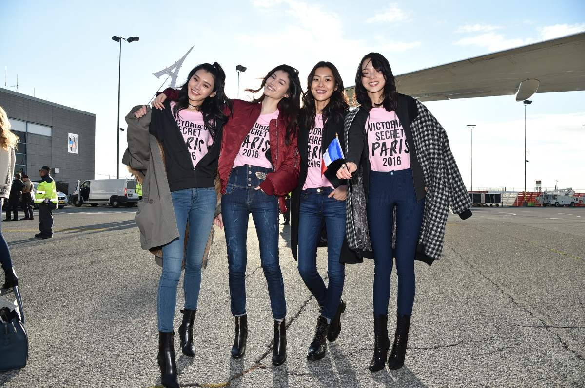 Returning models Ming Xi, He Sui, Liu Wen and Ju Xiaowen on the way to last year's show in Paris. Photo: Mike Coppola/Getty Images for Victoria's Secret