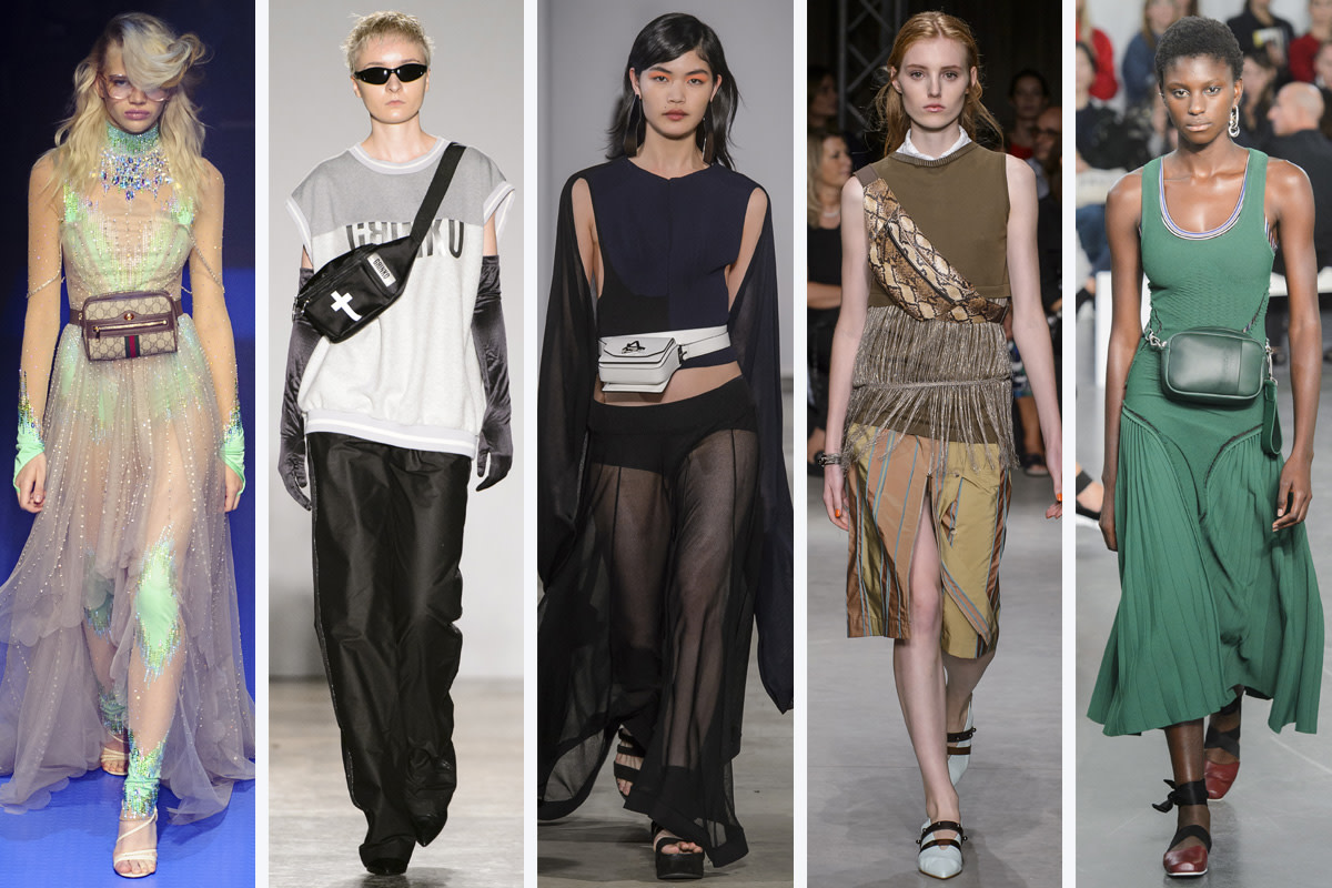 (L-R): Gucci, Sergei Grinko, Anteprima, Cividini and Sportmax. Photos: Imaxtree