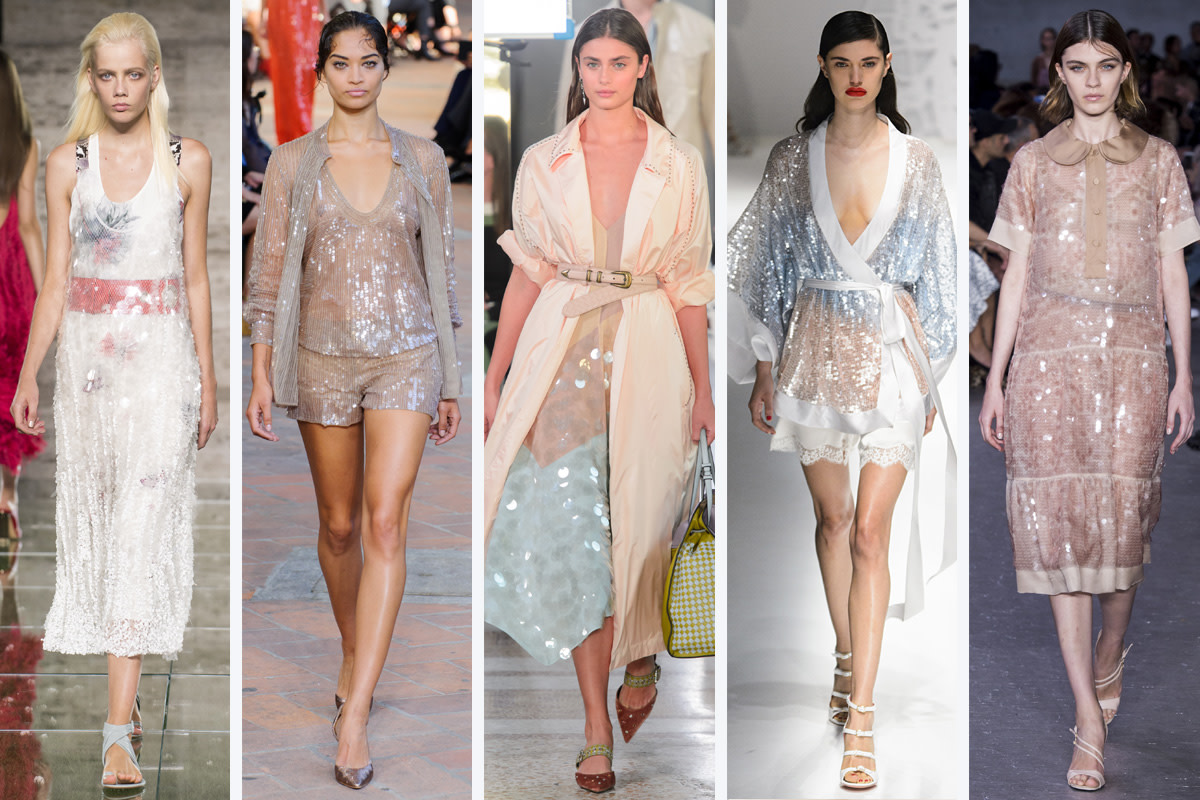 (L-R): Salvatore Ferragamo, Alberta Ferretti, Bottega Veneta, Blumarine, and No. 21. Photos: Imaxtree