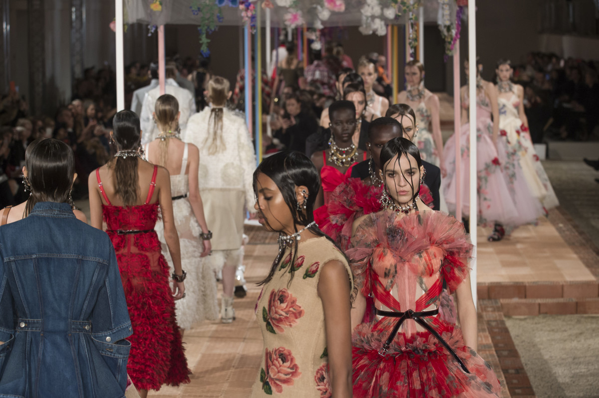 Looks from Alexander McQueen's Spring 2018 collection. Photo: Imaxtee