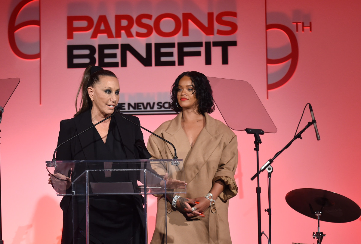 Donna Karan and Rihanna at the 69th annual Parsons benefit. Photo: Jamie McCarthy/Getty Images for The New School