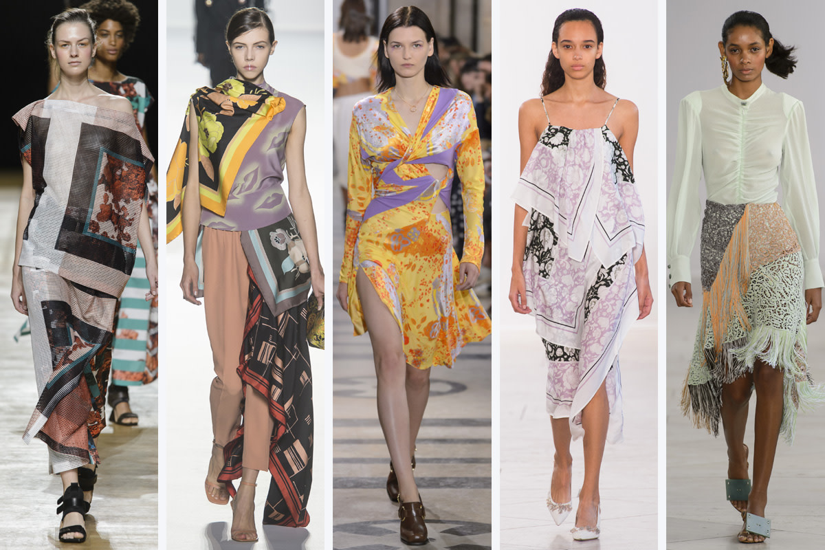 (L-R): Issey Miyake, Dries Van Noten, Atlein, Christian Wijnants and Veronique Leroy. Photo: Imaxtree