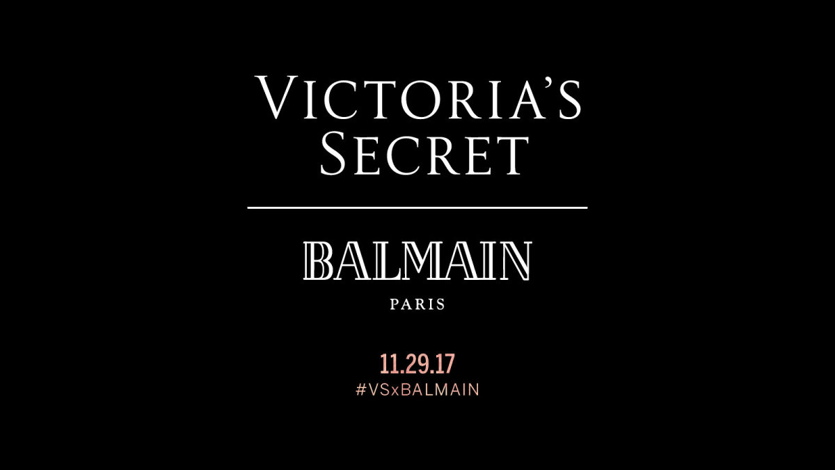 The #VSxBalmain announcement. Screenshot: Victoria's Secret