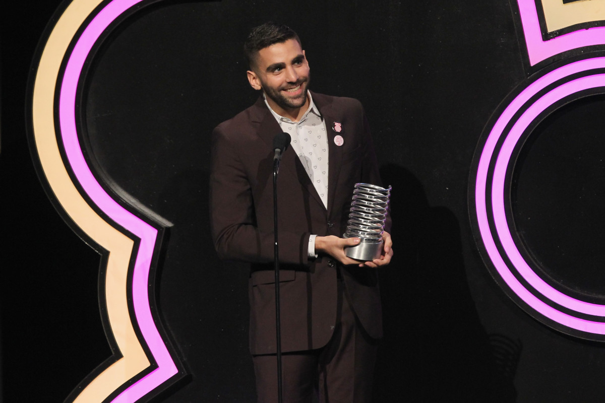 """Them"" creator Phillip Picardi accepts an award at the The 21st Annual Webby Awards. Photo: Bennett Raglin/Getty Images"