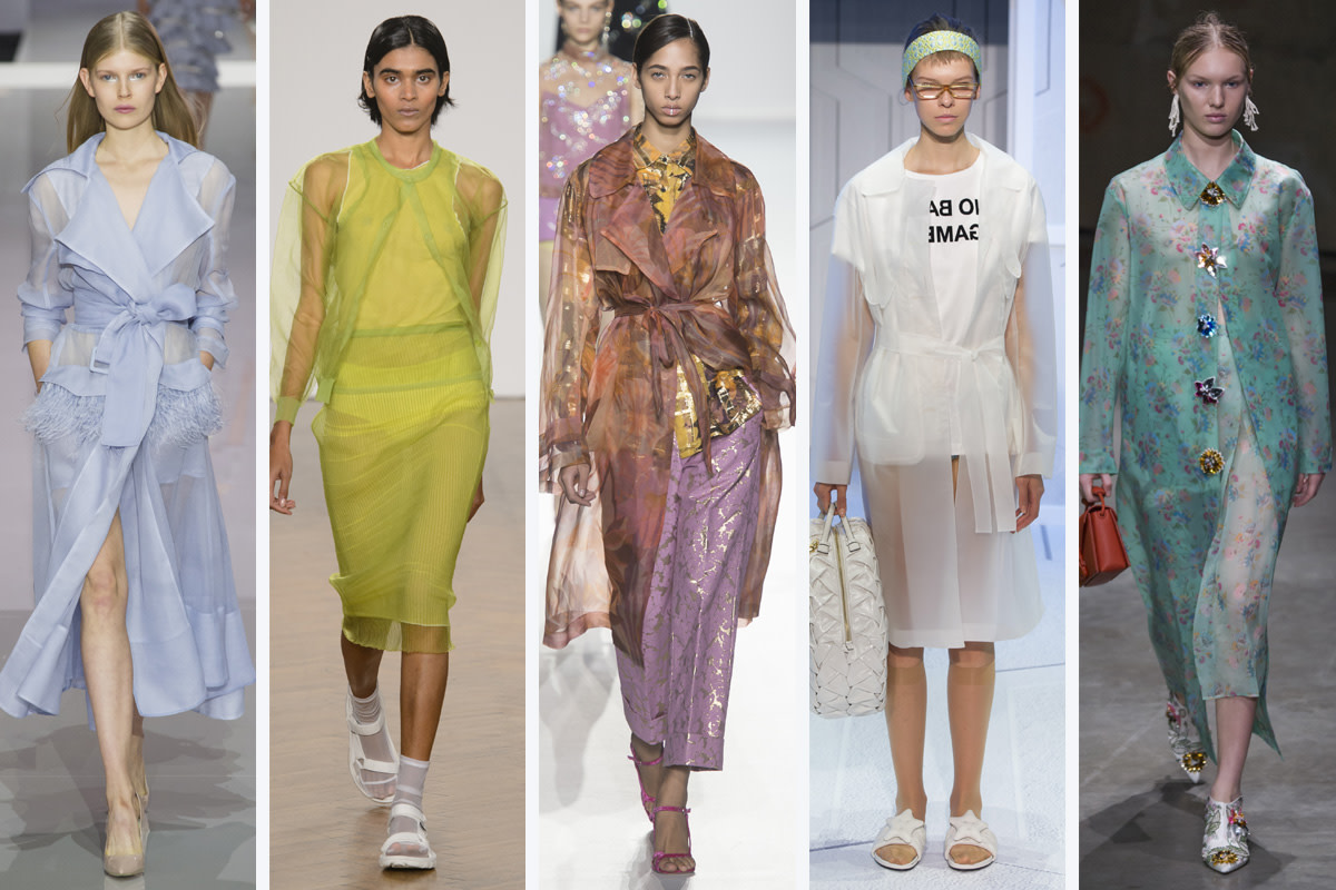 (L-R): Ralph & Russo, Pringle of Scotland, Dries Van Noten, Anya Hindmarch and Christopher Kane. Photos: Imaxtree