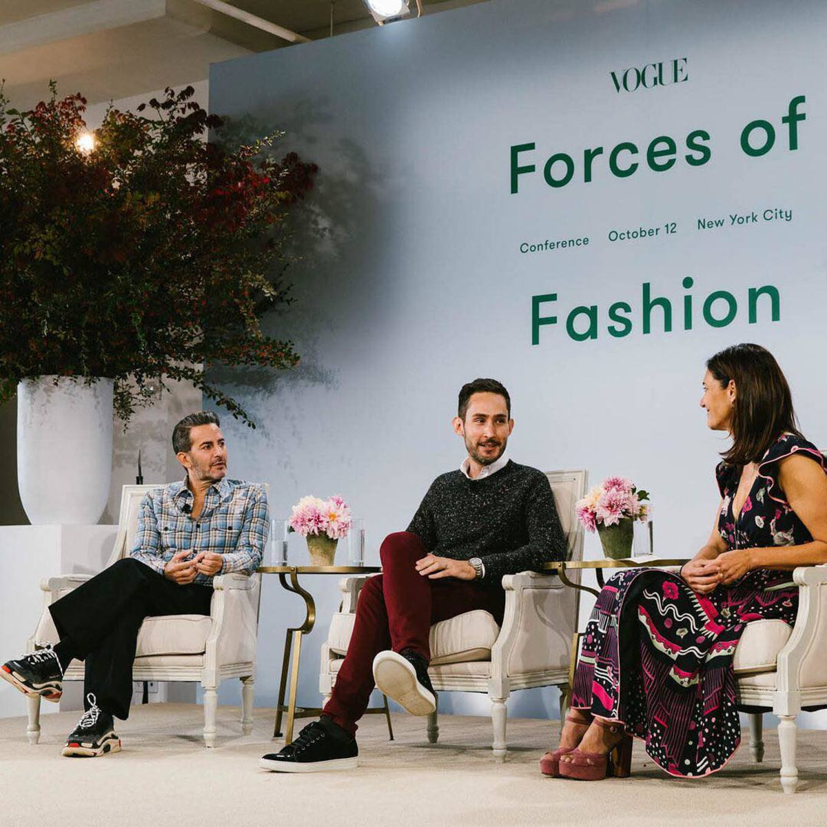 Marc Jacobs, Instagram CEO Kevin Systrom and Vogue.com Digital Creative Director Sally Singer. Photo: @voguemagazine/Instagram