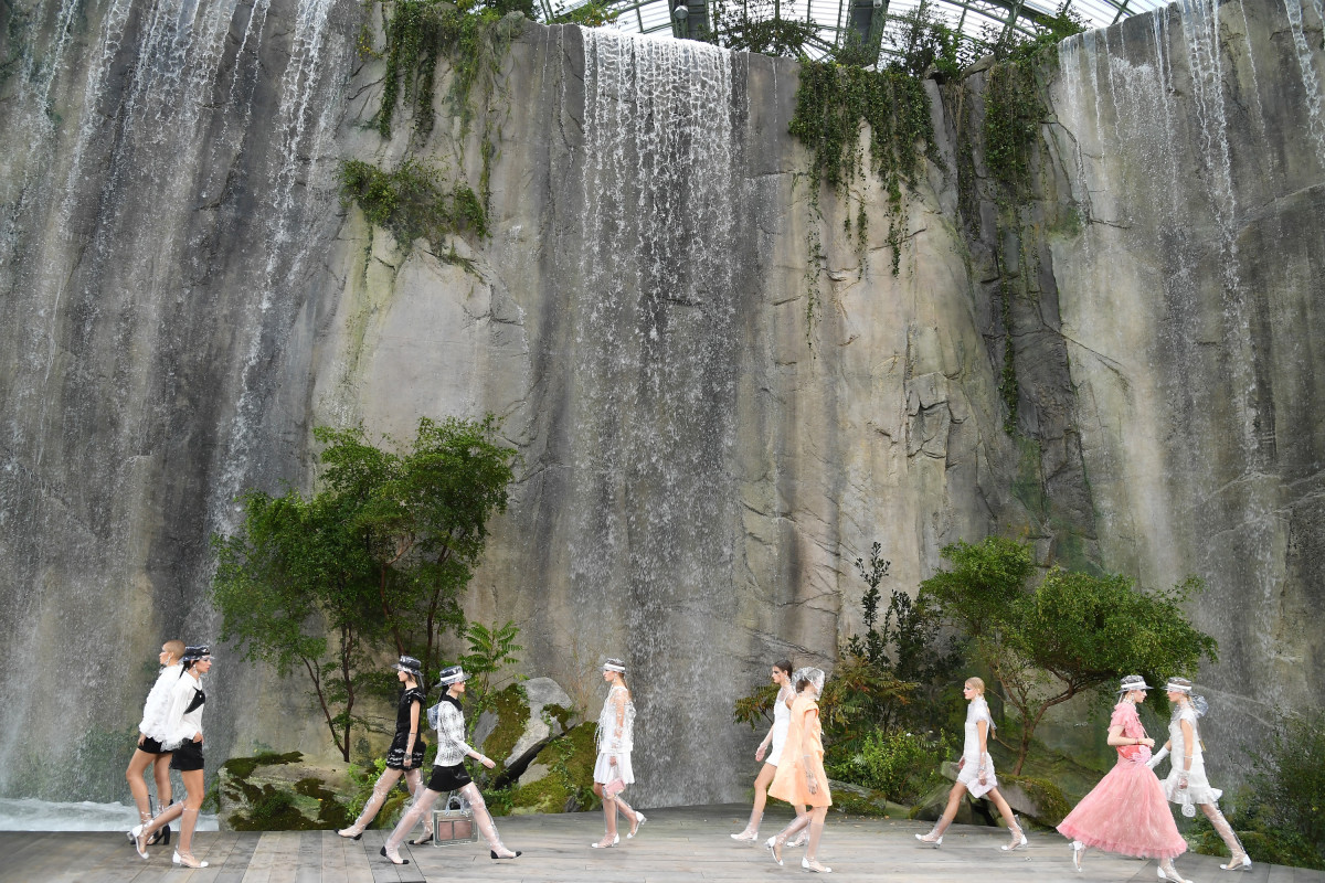 Chanel's Spring 2018 runway, complete with cliff. Photo: Pascal Le Segretain/Getty Images