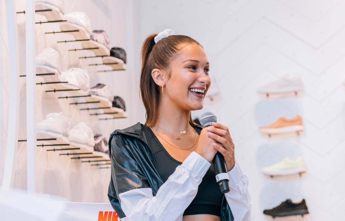 Bella Hadid in a scrunchie. Photo: Nike