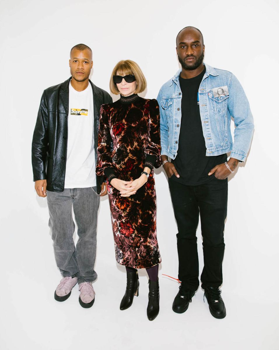 "Heron Preston, Anna Wintour and Virgil Abloh. Photo: Corey Tenold/""Vogue"""