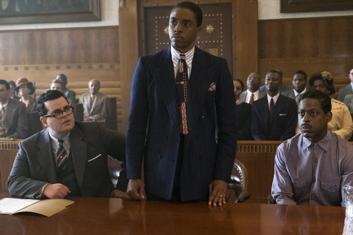 Sam Friedman (Josh Gad), Thurgood Marshall (Chadwick Boseman) and Joseph Spell (Sterling K. Brown). Photo: Open Road Films