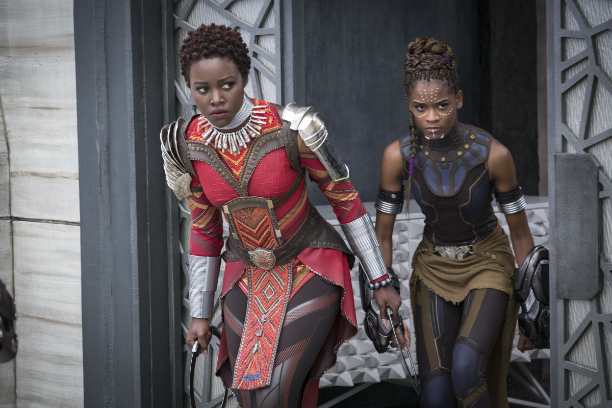 "Nakia (Lupita Nyong'o) and Shuri (Letitia Wright) in ""Black Panther."" Photo: Matt Kennedy ©Marvel Studios 2018"
