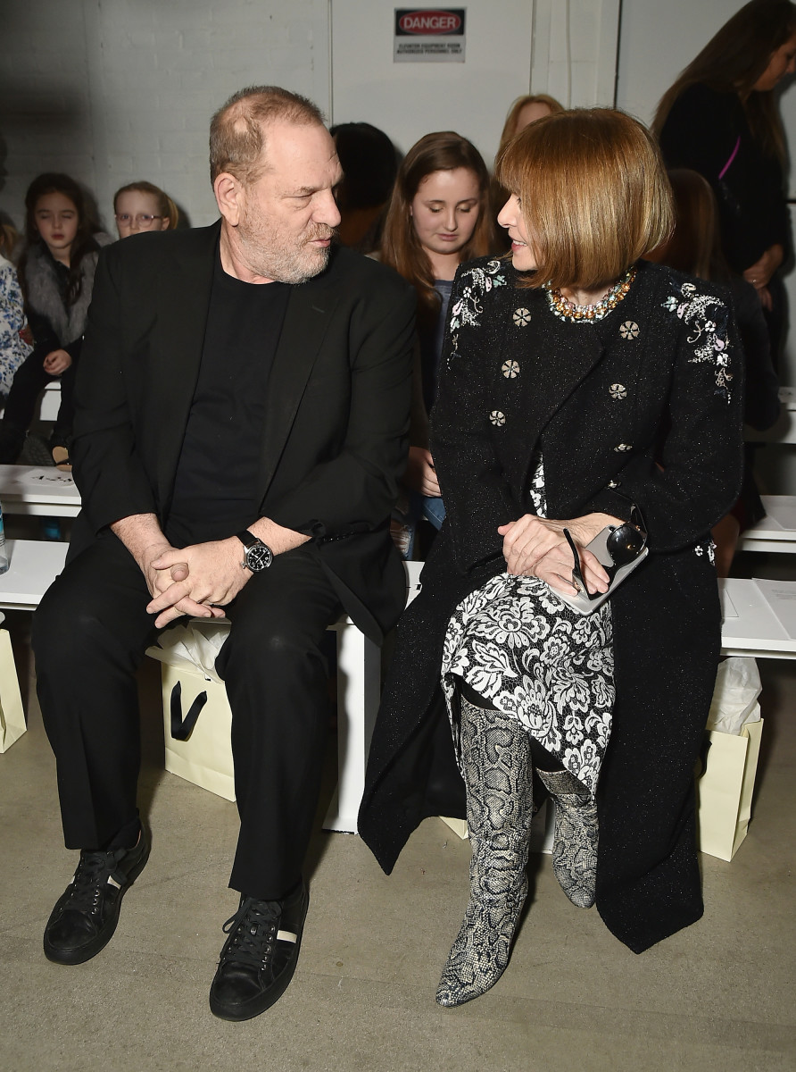 Harvey Weinstein and Anna Wintour sitting front row at Marchesa in February 2017. Photo: Theo Wargo/Getty Images