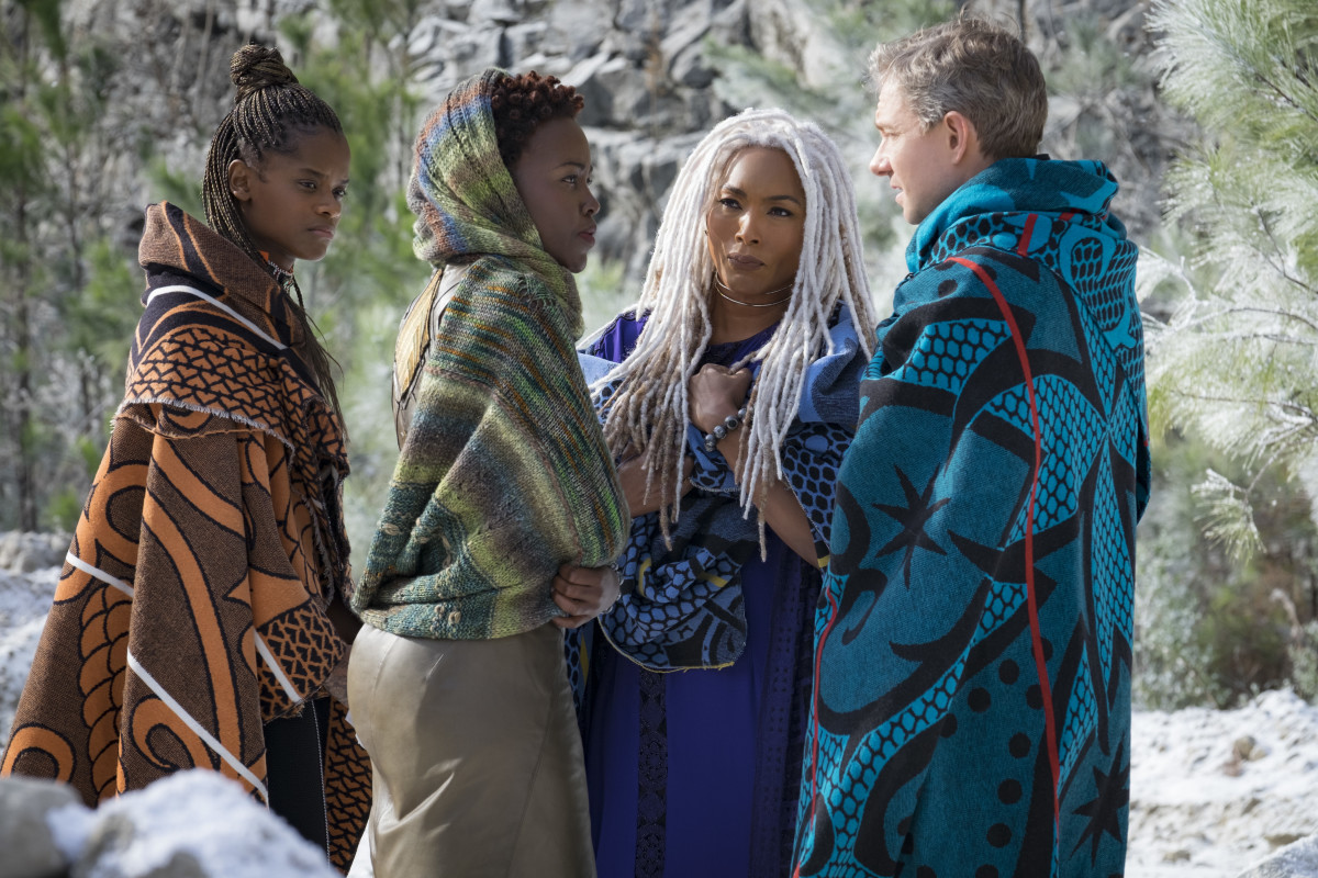 Zuri, Nakia, Ramonda and Everett K. Ross (Martin Freeman). Photo: Marvel Studios 2018. Photo: Matt Kennedy ©Marvel Studios 2018