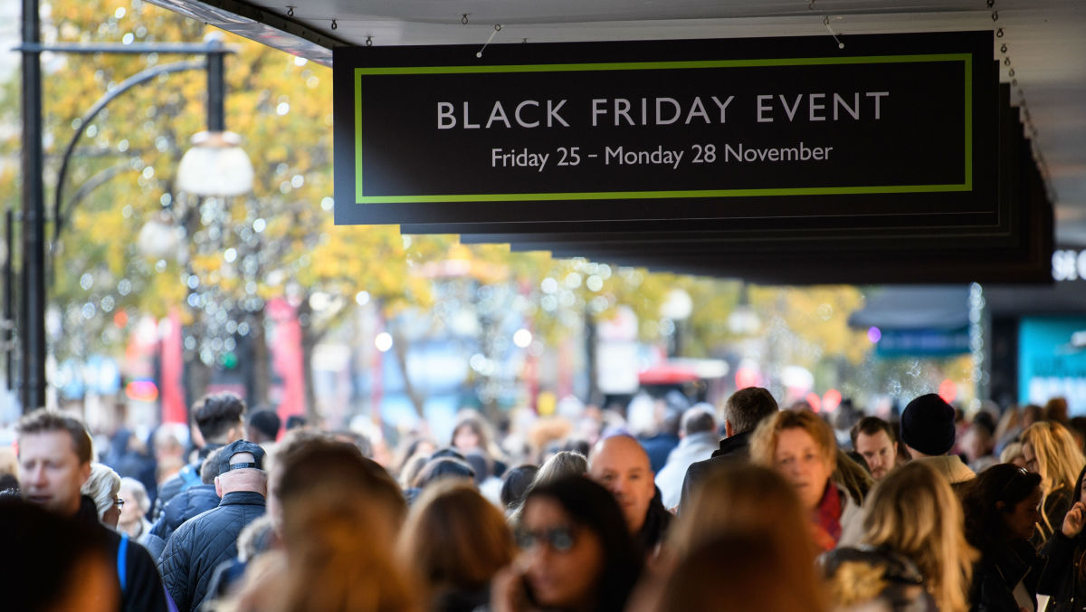A very civilized-looking Black Friday sign in London. Photo: Leon Neal/Getty Images