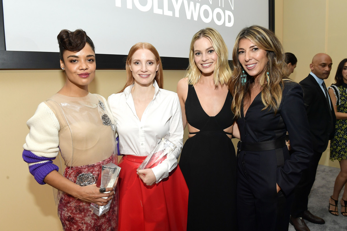 "Tessa Thompson, Jessica Chastain, Margot Robbie and Nina Garcia at the 24th annual ""Elle"" Women in Hollywood Awards. Photo: Matt Winkelmeyer/Getty Images"