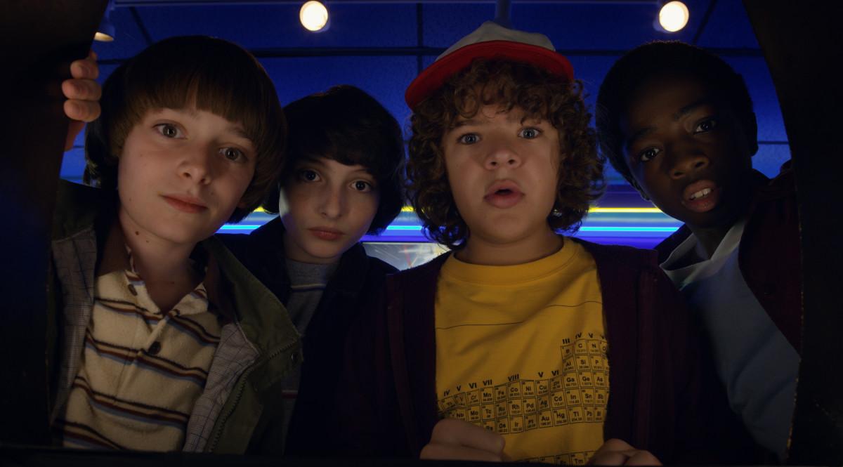 Will (Noah Schnapp), Mike (Finn Wolfhard), Dustin (Gaten Matarazzo) and Lucas (Caleb McLaughlin). Photo: Netflix