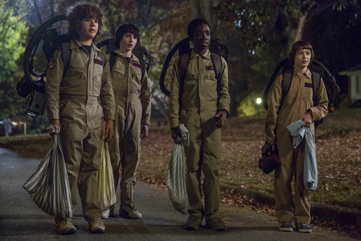 Dustin, Mike, Lucas and Will aren't afraid of no ghosts. Photo: Jackson Lee Davis/Netflix