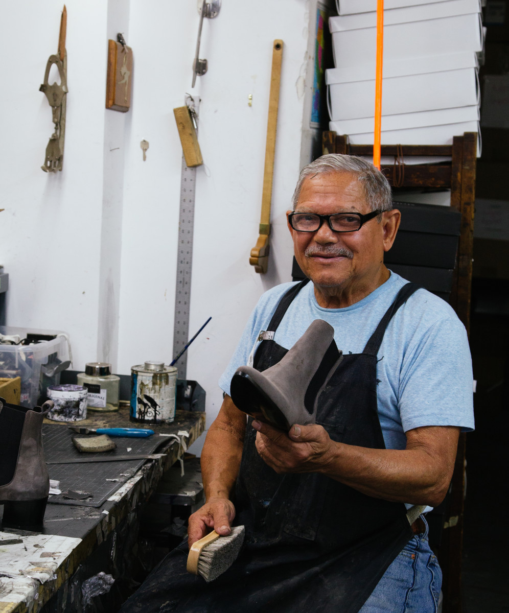 A shoemaker in the Modern Vice factory. Photo: Whitney Bauck/Fashionista