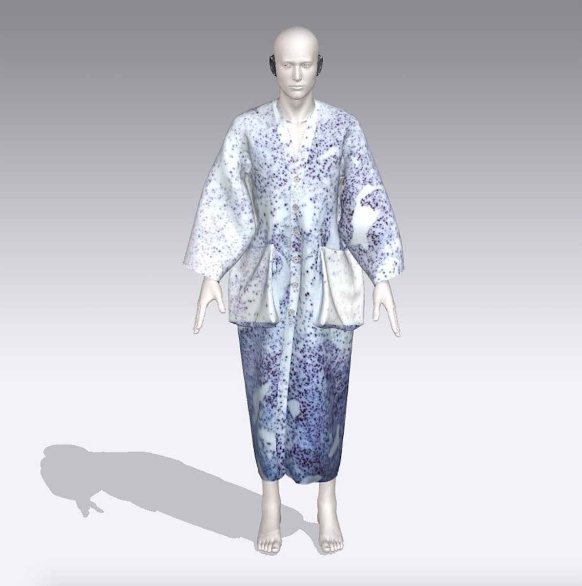 3D rendering of a garment biofabricated using pigment-producing bacteria, by Faber Futures in collaboration with Ginkgo BioWorks. Photo: Atacac.