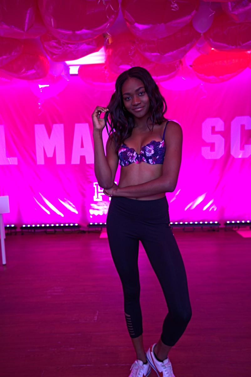 Zuri Tibby modeling a VS Pink Date Bra at Pink Nation University. Photo: Courtesy