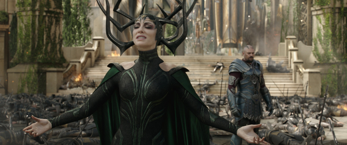 Hela, Goddess of Death (Cate Blanchett), does her thing. Photo: ©Marvel Studios 2017