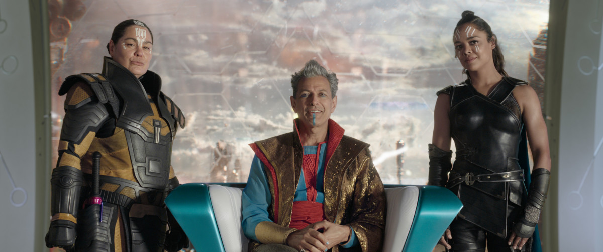 Topaz (Rachel House), Grandmaster (Jeff Goldblum) and Valkyrie (Tessa Thompson). Photo: ©Marvel Studios 2017