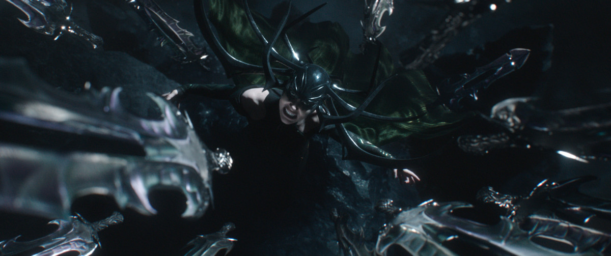 Hela and her shape-shifting, knife-throwing bodysuit. Photo: ©Marvel Studios 2017