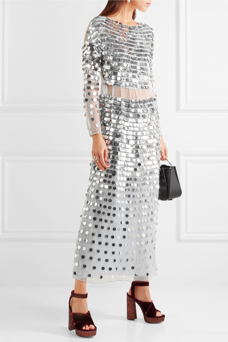 Alexachung Paillette-Embellished Swiss-Dot Tulle Midi Dress, $1,310, available at Net-a-Porter.