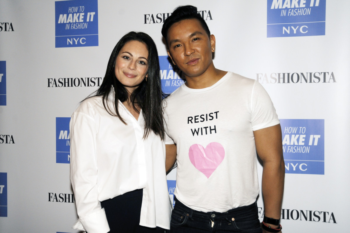 Fashionista Editor-in-Chief with keynote speaker Prabal Gurung at FashionistaCon 2017. Photo: Ashley Jahncke/Fashionista