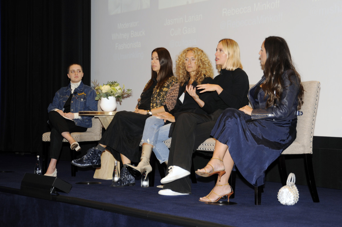 Fashionista Assistant Editor Whitney Bauck with Rebecca Minkoff, Cinq à Sept's Jane Siskin, Misha Nonoo and Cult Gaia's Jasmin Larian at FashionistaCon 2017. Photo: Ashley Jahncke/Fashionista