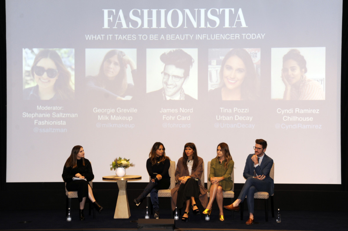 Fashionista Beauty Editor Stephanie Saltzman with Cyndi Ramirez, Georgie Greville, Tina Pozzi and James Nord at FashionCon 2017. Photo: Ashley Jahncke/Fashionista