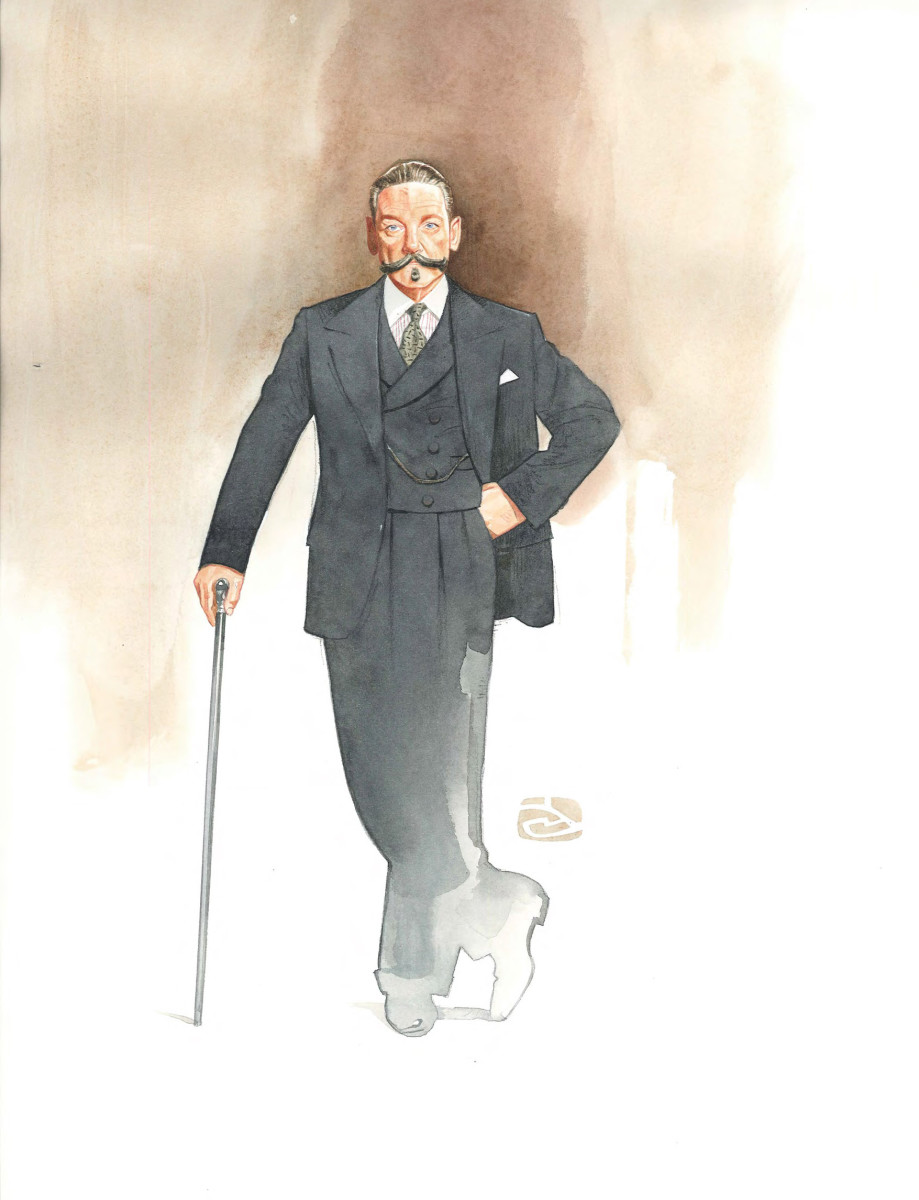 Hercule Poirot costume sketch by Alexandra Byrne.