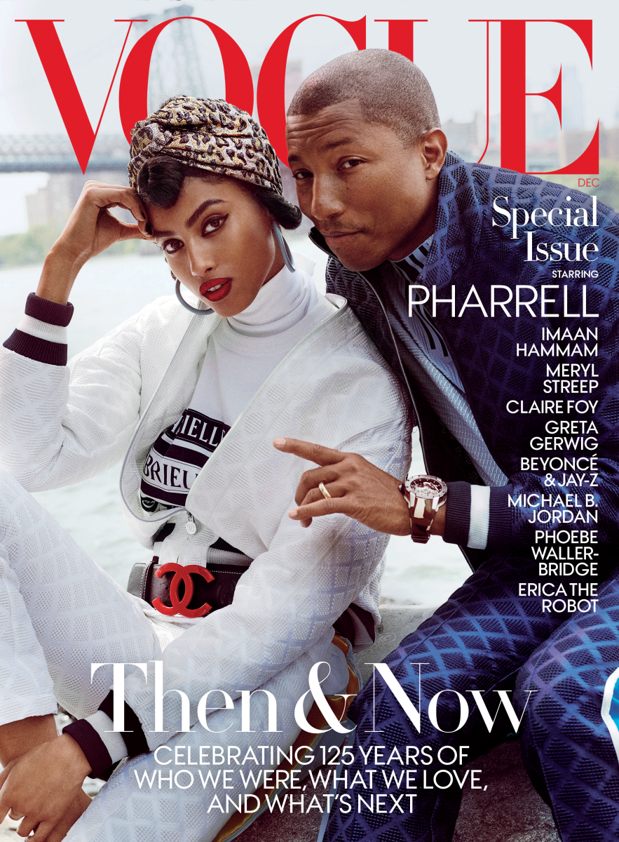 "Pharrell Williams and Imaan Hammam on ""Vogue""'s December 2017 Special Subscriber edition cover. Photo: Mario Testino/""Vogue"""