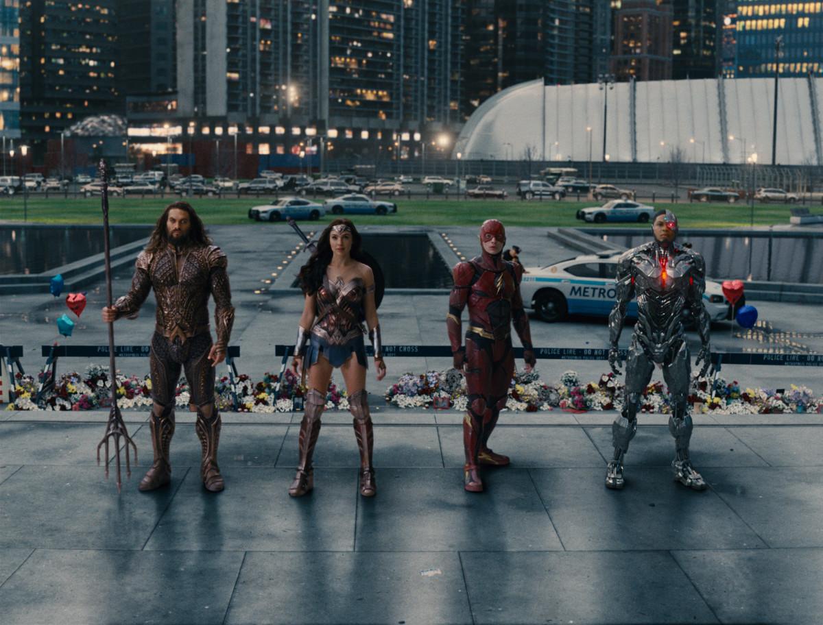 Aquaman (Jason Momoa), Wonder Woman (Gal Gadot), The Flash (Ezra Miller) and Cyborg (Ray Fisher). Photo: Courtesy of Warner Bros. Pictures/ TM & © DC Comics