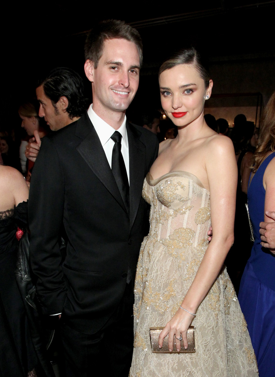 Evan Spiegel and Miranda Kerr. Photo: Tommaso Boddi/Getty Images