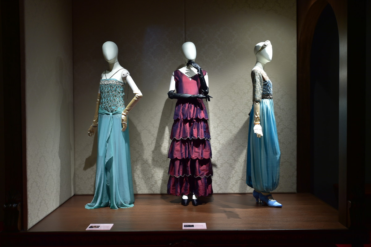 Edith's Criteron dress, Lady Mary's wedding proposal dress and Sybil's harem pants on display during the soft launch in Singapore. Photo: Courtesy