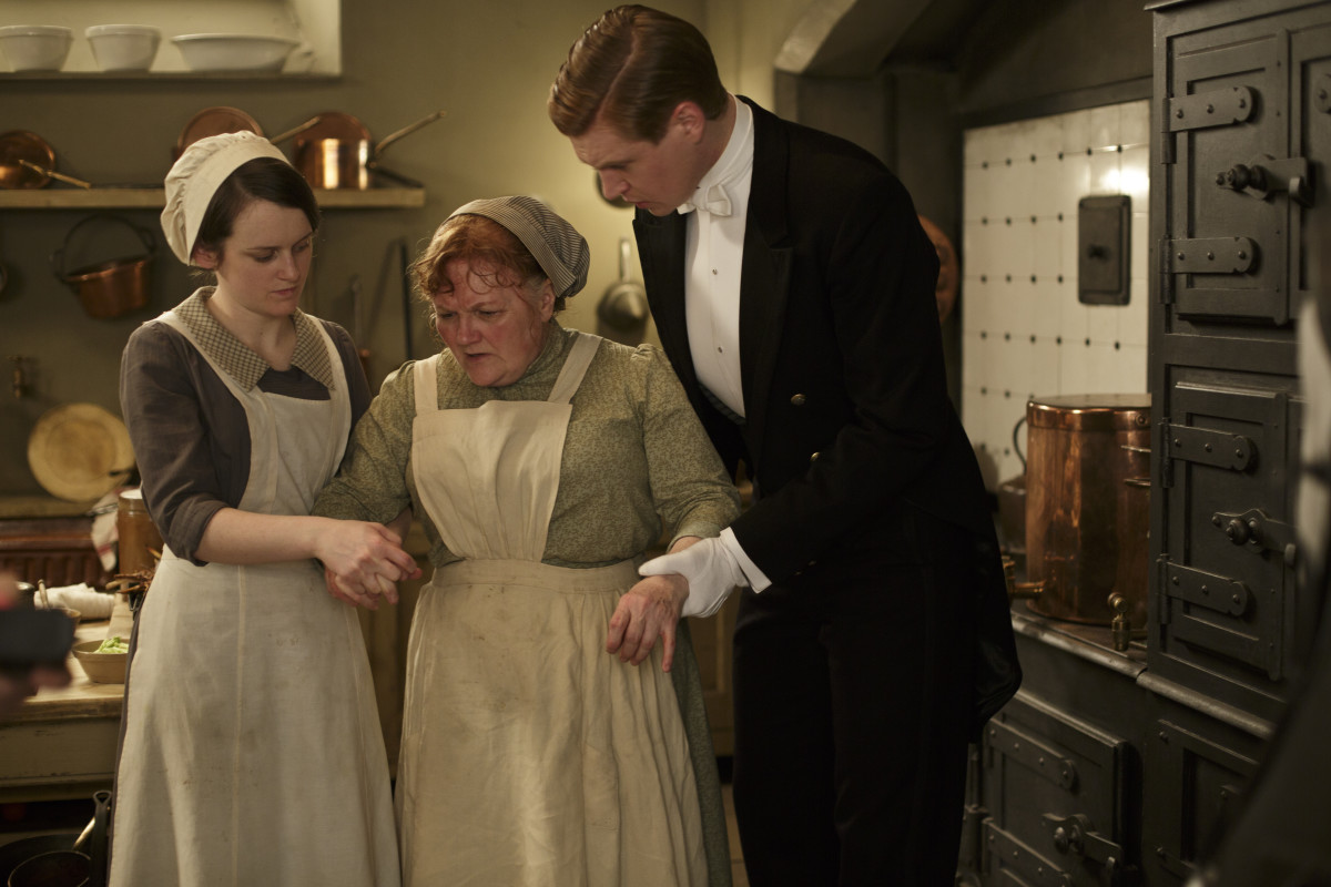 Daisy (Sophie McShera), Mrs. Patmore (Lesley Nicol) and Alfred (Matt Milne). Photo: NBCUniversal International Studios