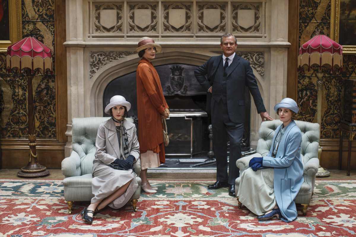 "Lady Mary (Michelle Dockery), Lady Cora (Elizabeth McGovern), Lord Grantham (Hugh Bonneville) and Lady Edith (Laura Carmichael) in their casual-wear, on display at ""Downton Abbey: The Exhibit."" Photo: NBCUniversal International Studios"