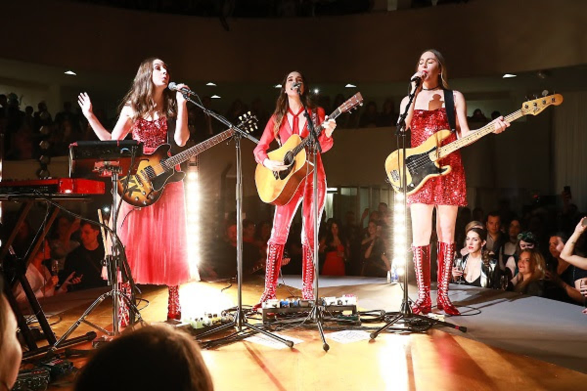 Haim in Dior performing at the Guggenheim International Gala Pre-Party. Photo: Courtesy of Dior