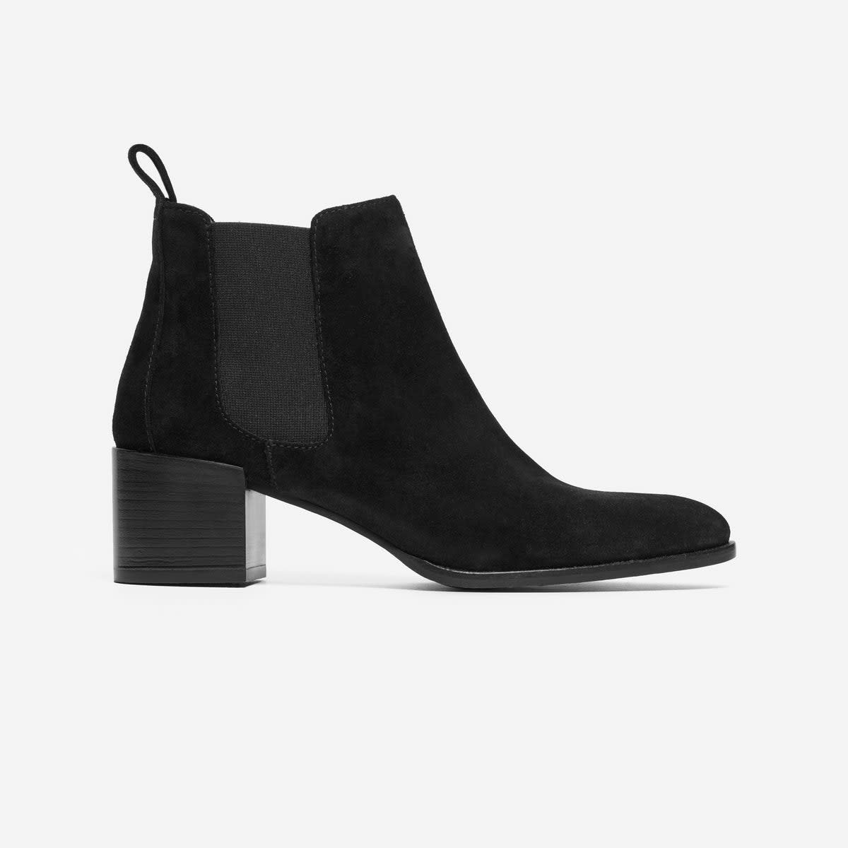 Everlane The Heel Boot in Black Suede, $225, available at Everlane.