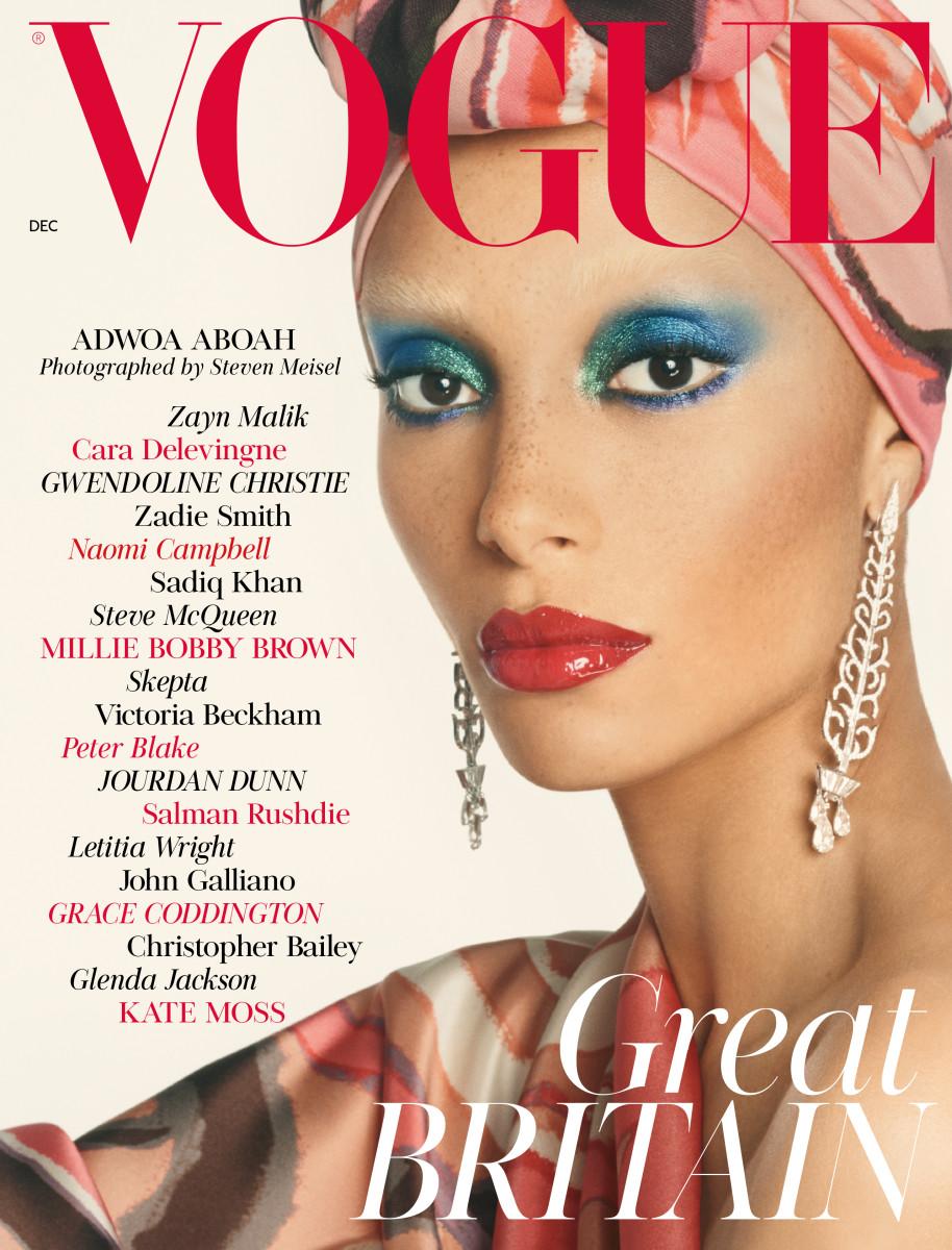"""Adwoa Aboah on """"British Vogue""""'s December 2017 issue. Photo: Steven Meisel/""""British Vogue"""""""
