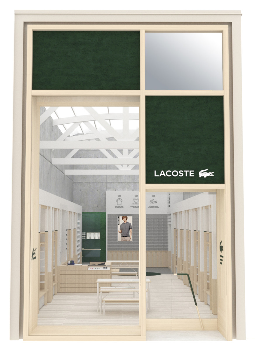 Rendering of the Rode Drive Lacoste storefront in Beverly Hills. Photo: courtesy of Lacoste