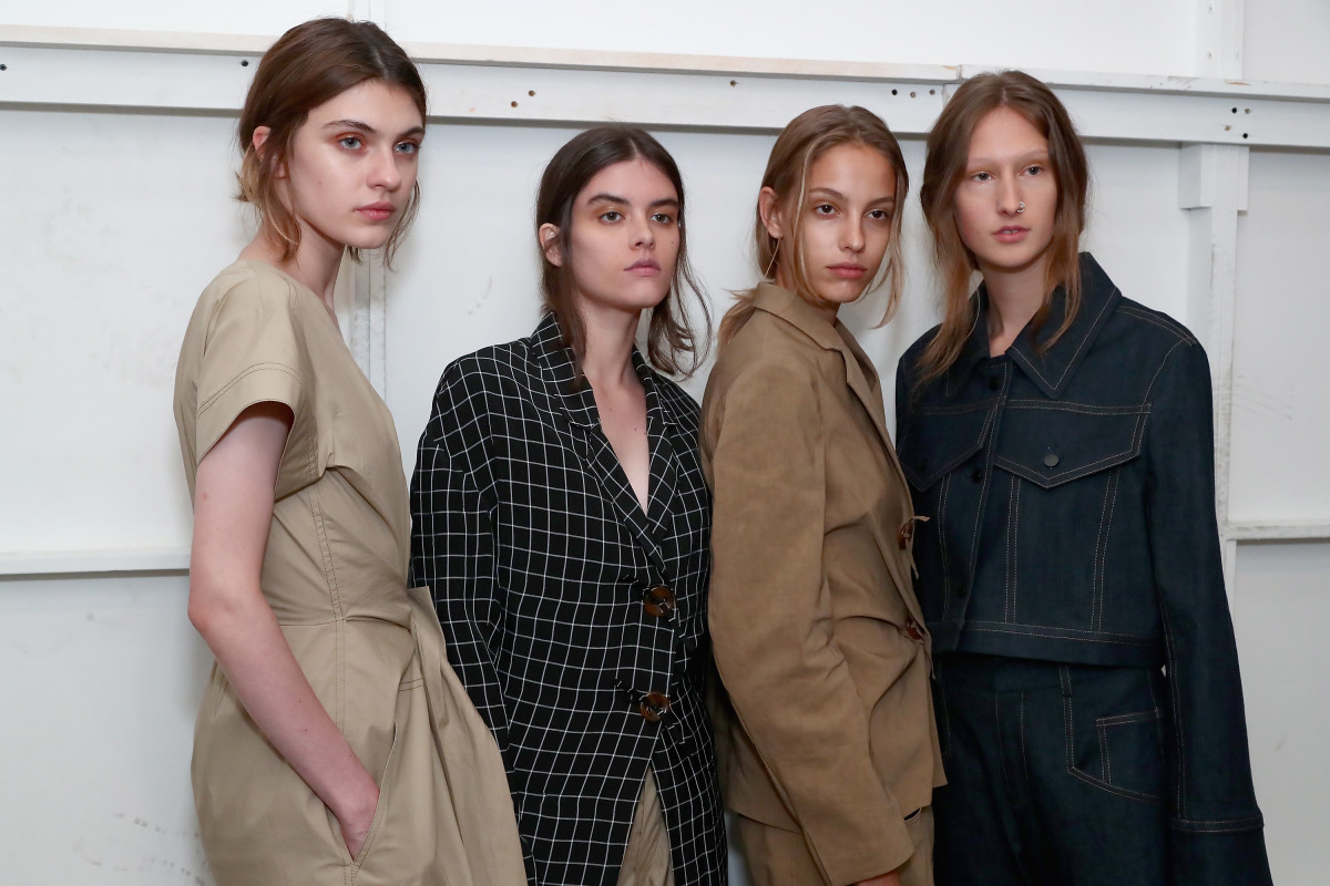 Models backstage at the Colovos Spring 2018 runway show during New York Fashion Week. Photo: Astrid Stawiarz/Getty Images