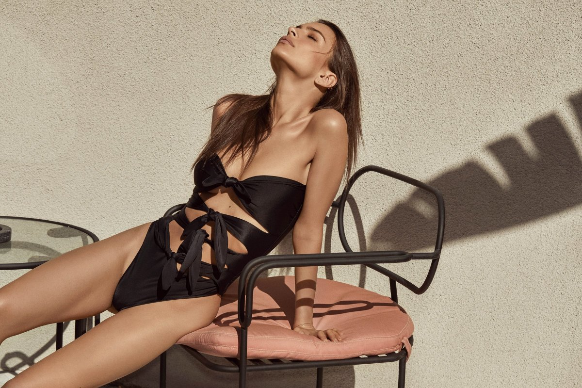 "Emily Ratajkowski in Inamorata's ""Cardiff"" swimsuit. Photo: Courtesy"