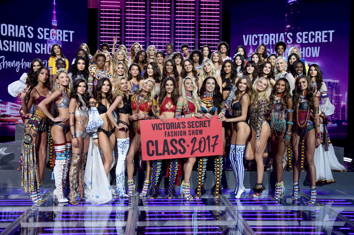 The models of the 2017 Victoria's Secret Fashion Show. What's missing here? Photo: Frazer Harrison/Getty Images
