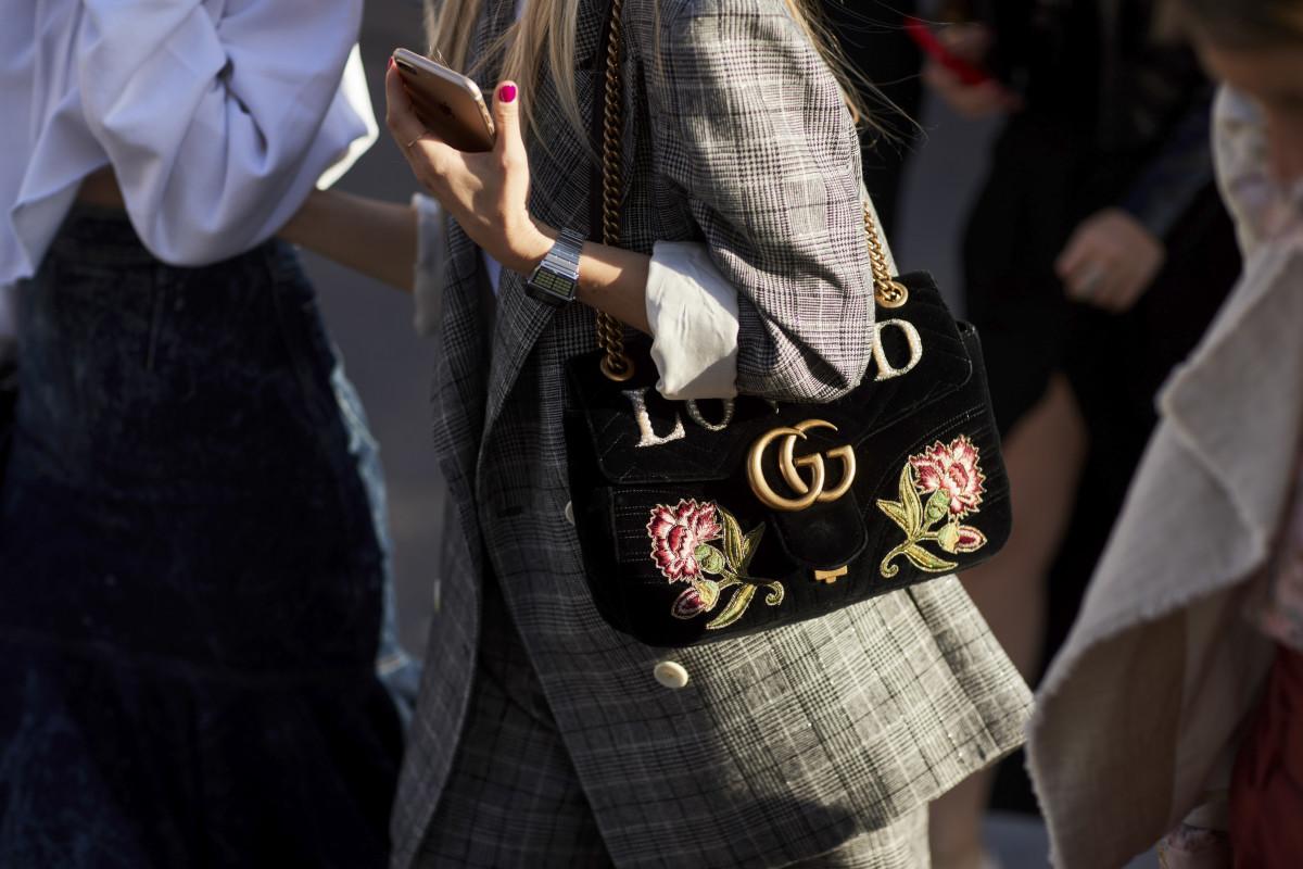 A Gucci bag during Milan Fashion Week. Photo: Imaxtree
